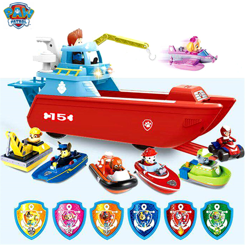 Marine Rescue Paw Patrol Dog Toys Patrol boat Yacht Ferry Rescue team Patrulla Canina Action Figures Juguetes anime figure gift