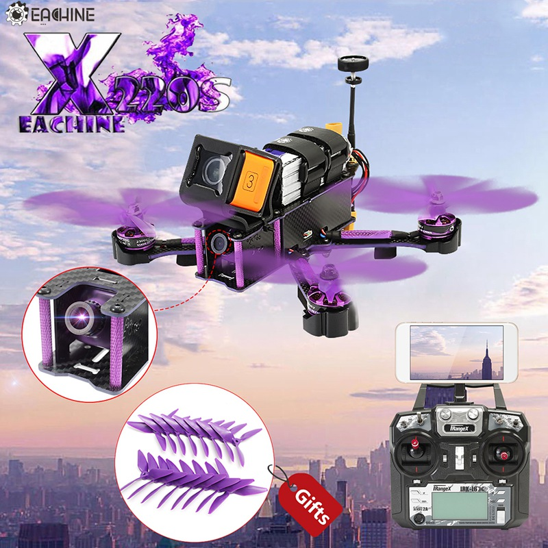 Eachine Assistant X220S FPV Racer RC Drone F4 5.8g 72CH 30A Dshot600 800TVL Flysky FS-i6X Trnsmitter RTF Racing Multi jouets Rotor