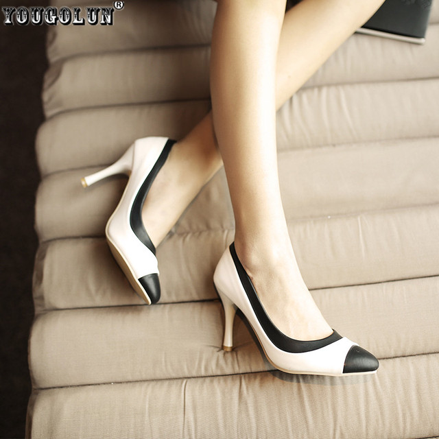YOUGOLUN woman fashion pointed toe Thin high heels pumps women black white mixed colors summer autumn shoes women's work Pumps