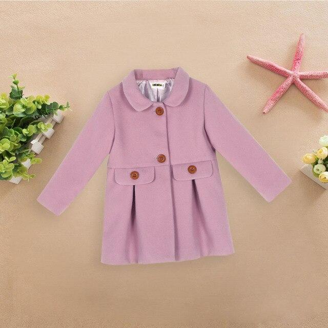 Weixinbuy Kids Girls' Solid Color Warm Thick Woolen Overcoat Dress Coat Winter Outerwear 2-6 Years