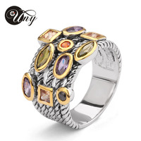 UNY Ring Beautiful Multi CZ Twisted Cable Wire Rings Designer Fashion Brand David Vintage Love Antique Rings Womens Jewelry Ring|fashion jewelry ring|jewelry rings|fashion rings women -