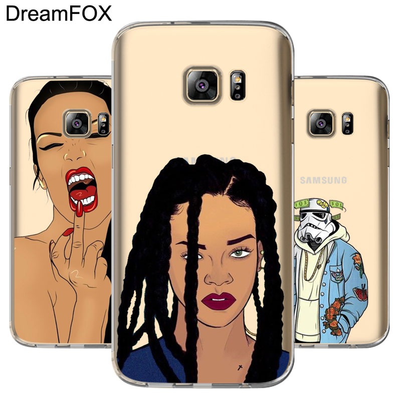 DREAMFOX L010 Beauty Star Soft TPU Silicone Case Cover For Samsung Galaxy Note S 3 4 5 6 7 8 9 Edge Plus Grand Prime