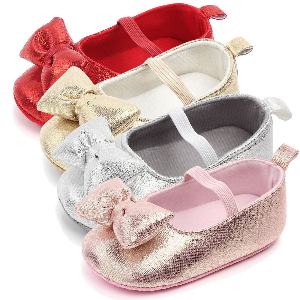 Newborn Baby Shoes Girls 2019 For New Born Infant Toddler Babies Walking Gold Red Bowknot Baby Shoe