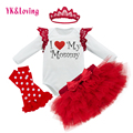 New Clothes Sets as Mother's Day Gift 2017 Free Shipping Baby Girls 0-2Years Skirt Sets  Red Long Sleeve Romper with Wing Design