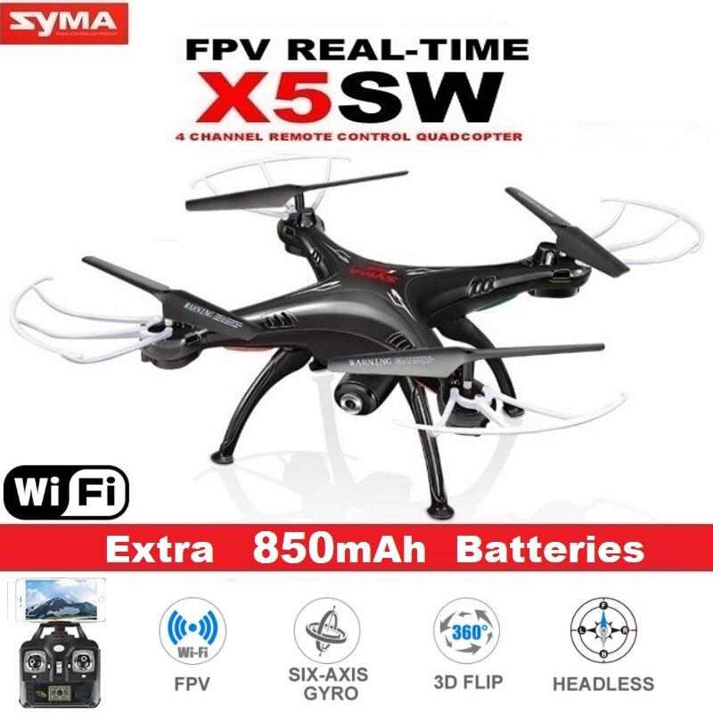 Drone Cuadricóptero SYMA X5SW FPV RC 2.4G 6-ejes con video en tiempo real de cámara WiFi de 2MP, helicóptero cuadricóptero a control remoto