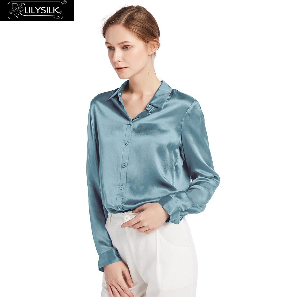 LilySilk Shirts Blouse Women Elegant Silk 22mm Basic Military 100 Charmeuse Silk Glossy Sophisticated Knitting Free