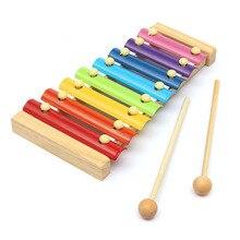 Holz 8 Töne Multicolor Xylophon Holz Musical Instrument Spielzeug Für Baby Kinder BM88