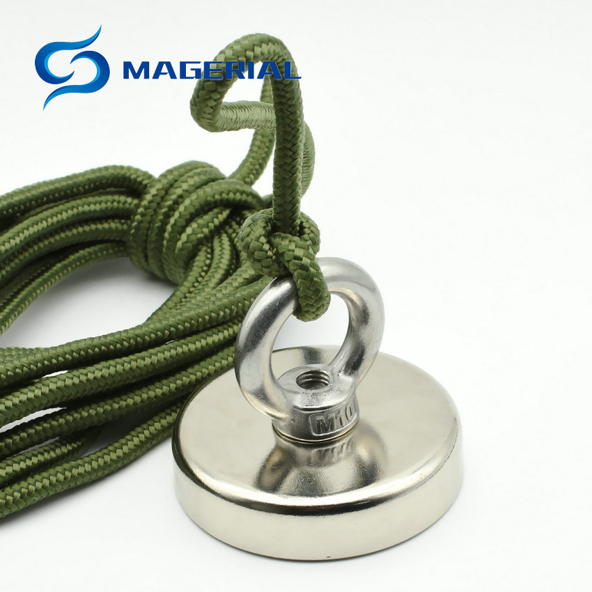 1 Piece NdFeB Strong Mounting Fishing Magnet Diameter 48-75 mm with Nylon Rope for Strong Pulling Neodymium Permanent Magnets linear displacement sensor pulling wire encoder pulling rope encoder pulling rope sensor