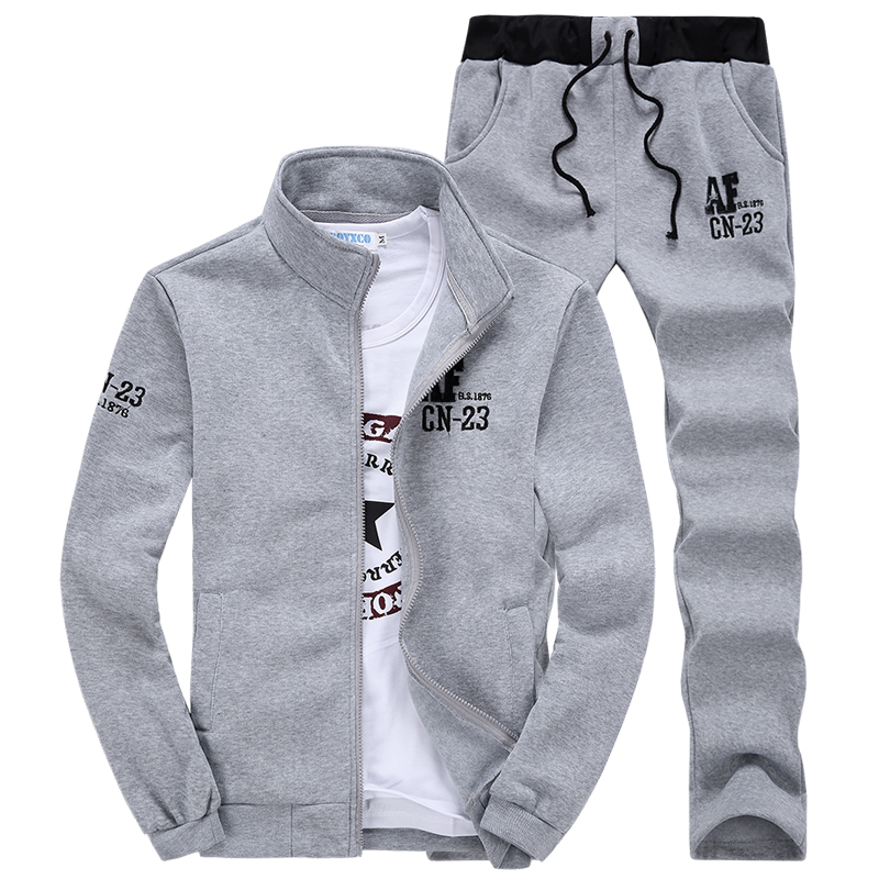 2Pcs Mens Jogging Sport Suits Long Sleeve Casual Athletic Jacket Pants Spring Black Blue Gray
