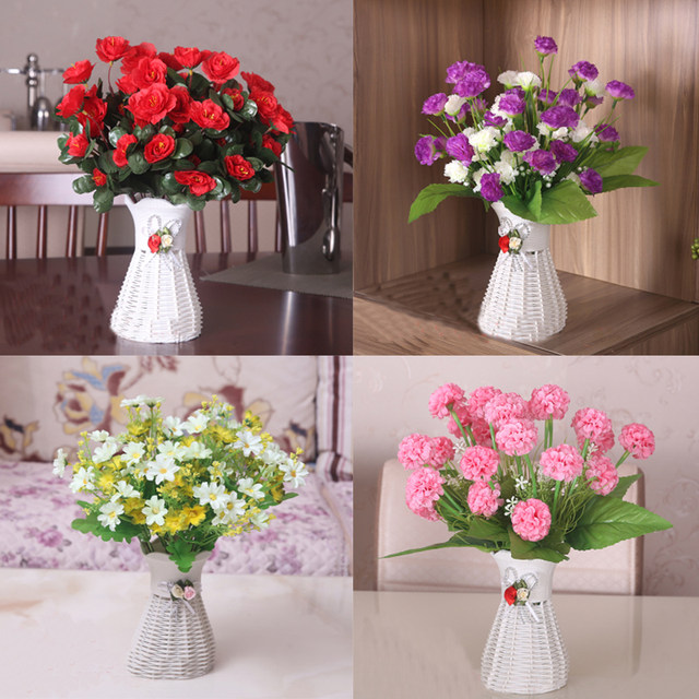 High Quality 33 Kinds Rattan Vase +Plastic Flowers Decorative Artificial  Flower Set Wedding Party Home Decoration Birthday Gift