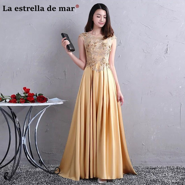 b586a4c25 Vestidos de festa vestido longo para casamento mais recente rendas frisado  luxo ouro lavender vestidos dama
