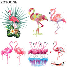 ZOTOONE Lovely Flamingo Patch Iron On Animal Patches Heat Transfer Applications For Girl Clothes DIY T-shirt Dressed Applique E