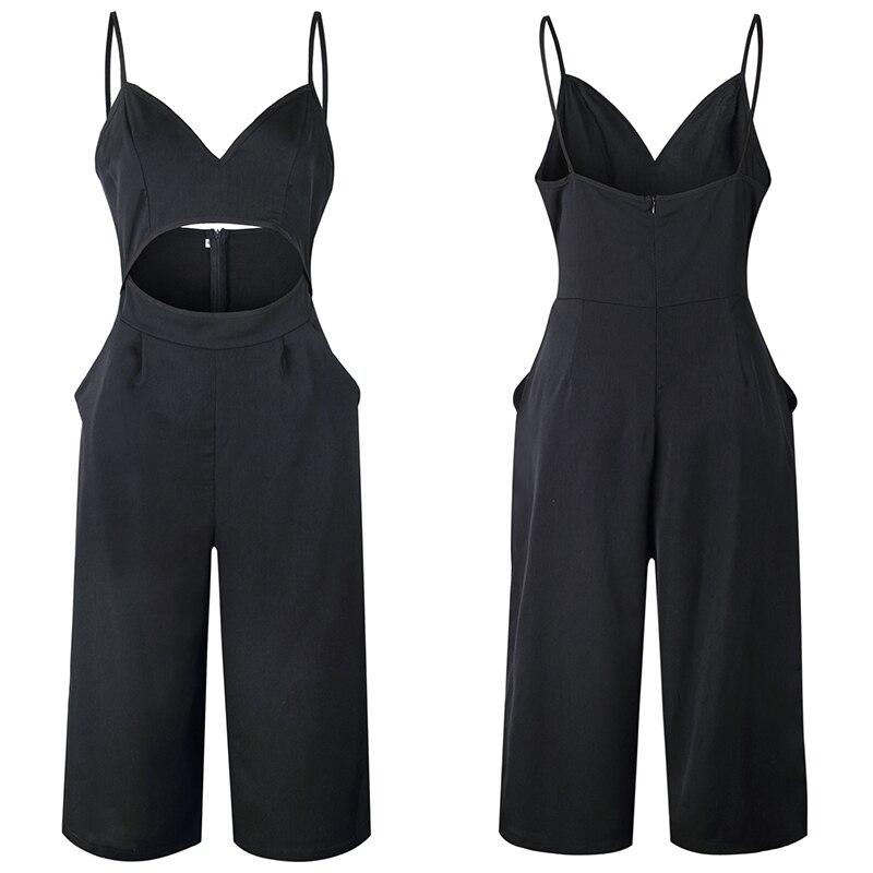 2018 Sexy ROMPER WOMEN Wide Leg Suspender JUMPSUITS Elegant Strapless Backless Strap Overalls Ladies Palazzo Black Spring Summer