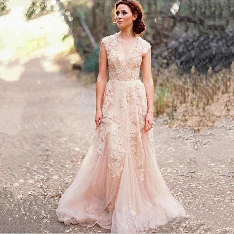 2017 Hot Vintage Lace A Line Wedding Dresses Custom Cap Sleeves Beach Bride Sweep Train V Neck Vestidos De Noiva In From