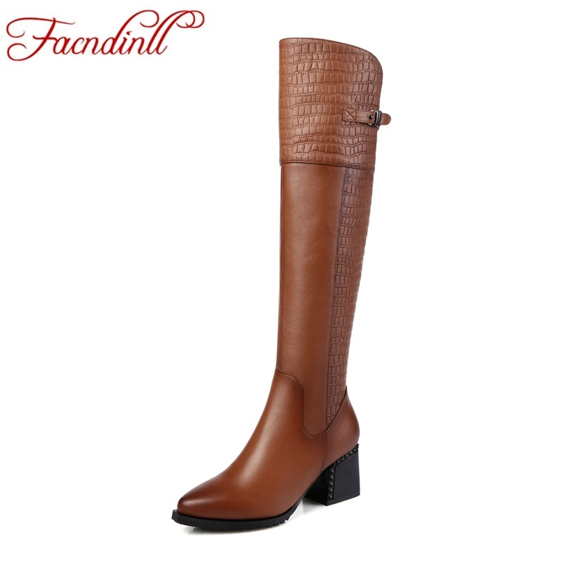 FACNIDNLL new 2017 genuine leather women autumn winter boots high heels zipper black brown shoes woman over the knee high boots 2017 new women boots ankle boots high heels autumn autumn winter boots women shoes woman brown