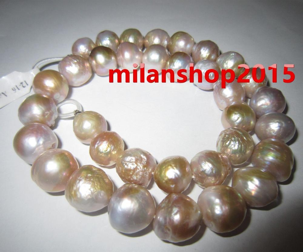baroque  14X12 MM SOUTH SEA NATURAL Multicolor PEARL NECKLACE 925silver GOLD CLASPbaroque  14X12 MM SOUTH SEA NATURAL Multicolor PEARL NECKLACE 925silver GOLD CLASP