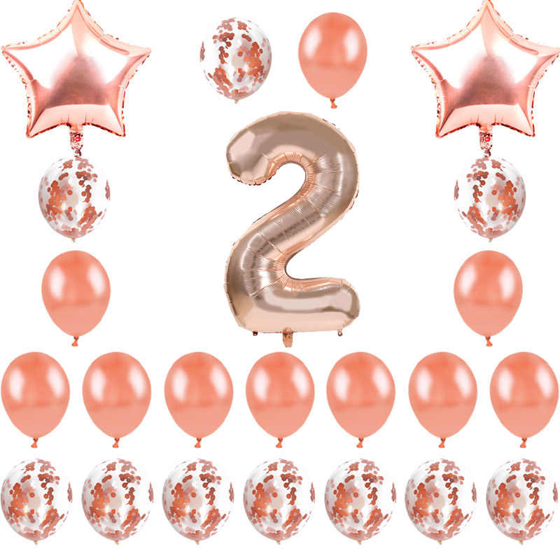 1st Birthday Decorations Balloons 1 2 3 Year Baby Boy Girl Party Kids