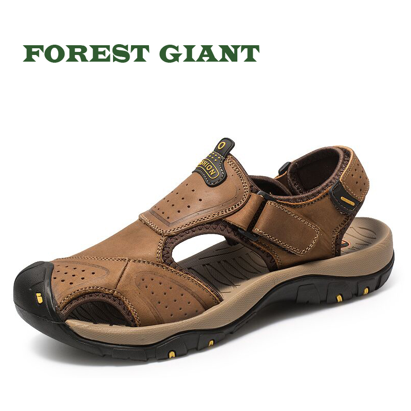 FOREST GIANT Top Quality Full Grain Leather Men Sandals Handmade Men Shoes Summer Soft Leather Shoes Beach Sandals 7283 3207