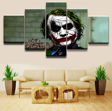 5 Pieces The Dark Knight Artistic Joker Movie Paintings Home Decor Pictures  On Canvas Posters And Prints Wall