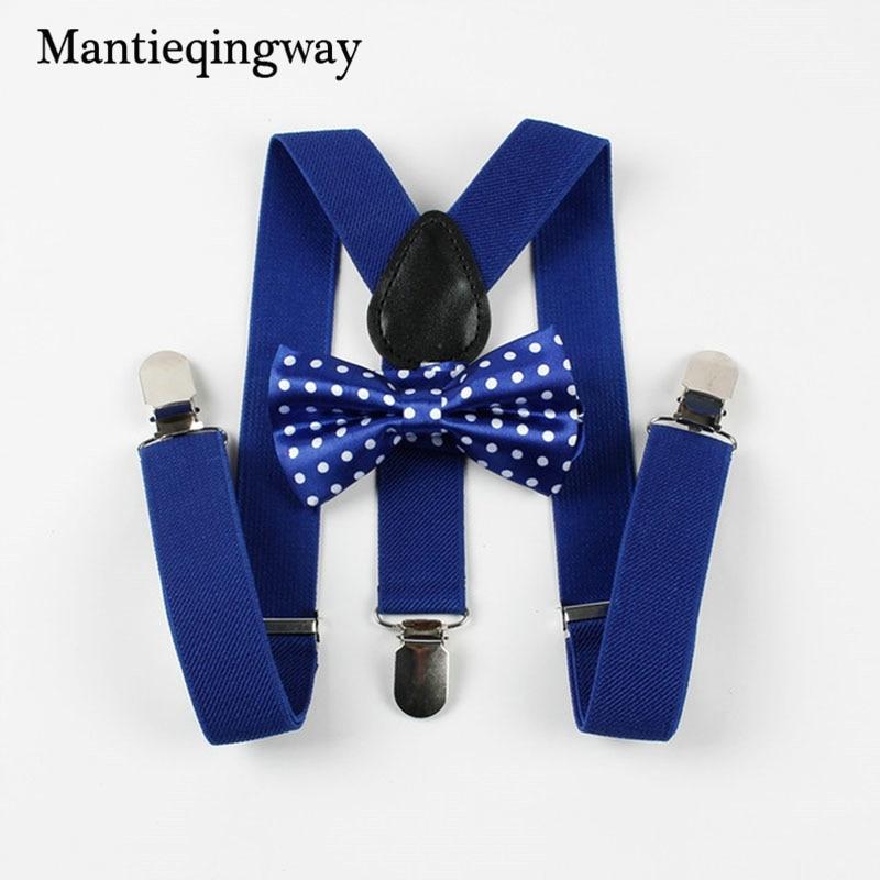 Mantieqingway Children Kids Braces Suspenders Bow Tie Adjustable Boys Girls Kid 3 Clip-on Y Back Elastic Suspenders Bowtie Sets
