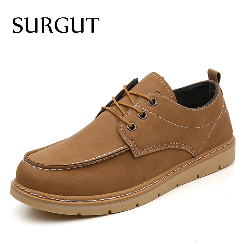 SURGUT Brand Men Dress Business New 2017 PU Leather Casual Shoes Men Oxfords Fashion Lace Up Platform Work Men Shoes Sapatos цены онлайн