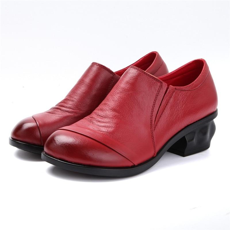 Cuir 41 Talons Printemps Robe Épais Femmes Véritable Travail Chaussures Pompes Med jaune rouge Noir Taille Automne Beyarne 2018 w0CqSE