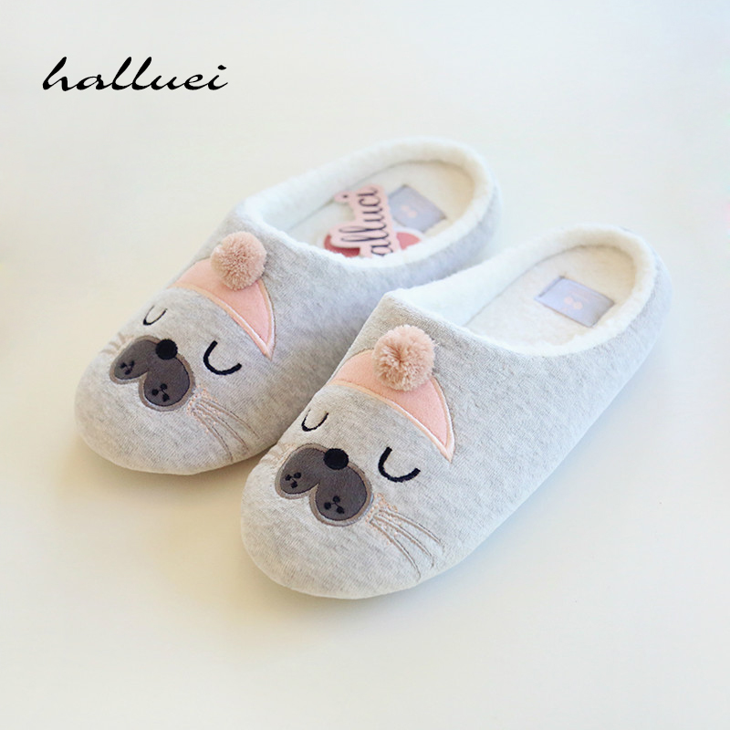 Cute Cat Animal Pattern Cotton Home Slippers Women Sandals Indoor Shoes For Bedroom House Warm Winter