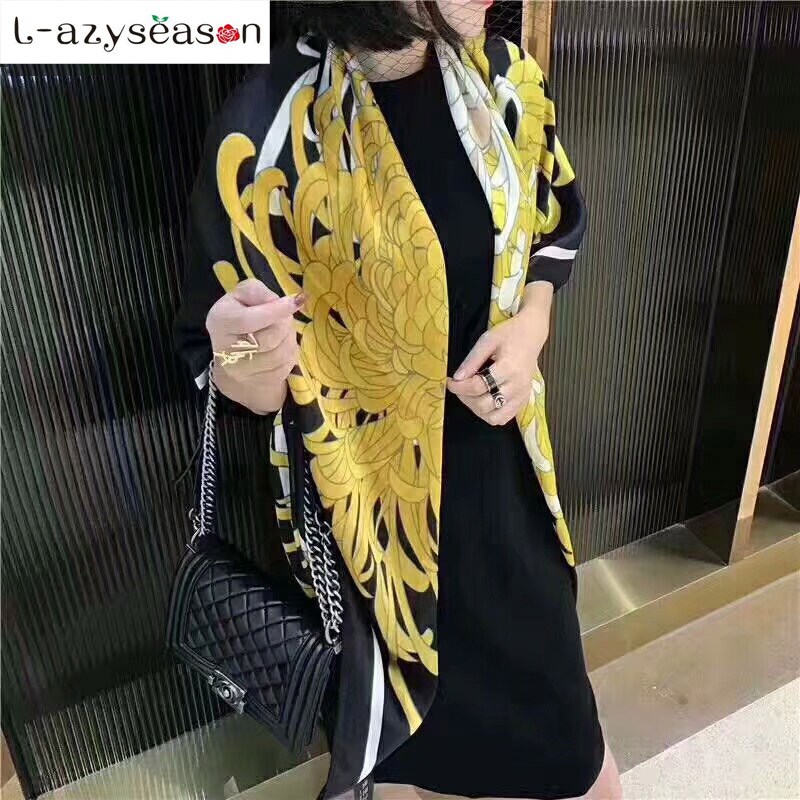 New Autumn women shawl Scarfs   wraps   Fashion Luxury brand Spring women silk feel   Scarf   print Pashmina soft thin All-match Lady's