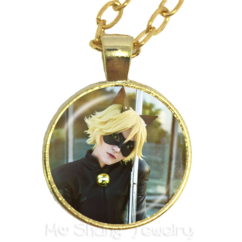 Fashion Cartoon Miraculous Ladybug Pendant Necklace Jewelry Class Dome Time Sweater chain For Kids Christmas Gift