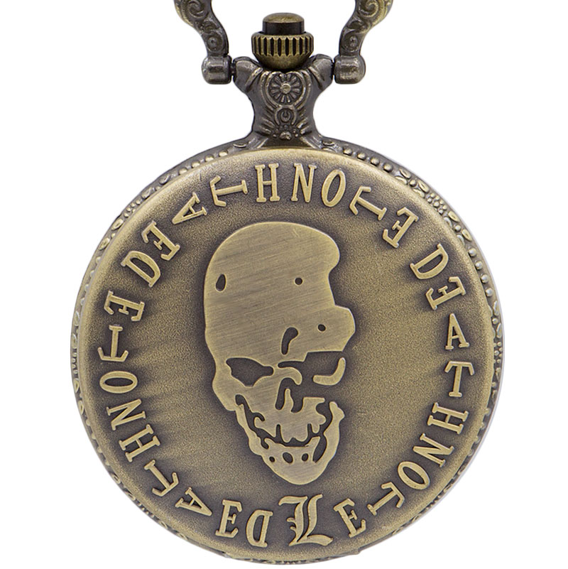 Casual Retro Death Note Theme Pocket Watches With Necklace Chain Cool Skull Fob Watch Cosplay Gifts For Boys Children Kids