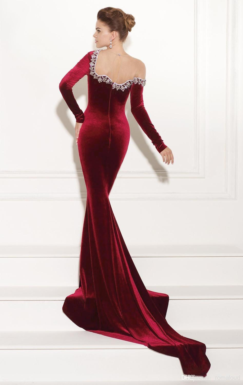 8d841075b448 2019 Long Sleeve Dark Red Burgundy Velvet Evening Dress Beaded Neck Mermaid  Sexy Backless Court Train Vestidos Pageant Dress