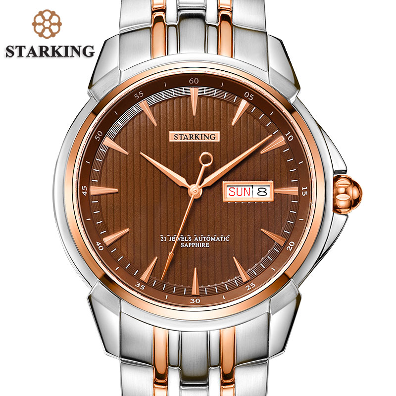 STARKING Men's Luxury Automatic Self-wind Stainless Steel Wrist Watch Rose Gold Elegant Men Watches With Sapphire Crystal Clocks ноутбук lenovo ideapad y520 15ikbn 80wk002lrk intel core i5 7300hq 2 5 ghz 8192mb 1000gb nvidia geforce gtx 1050 2048mb wi fi bluetooth cam 15 6 1920x1080 windows 10 64 bit