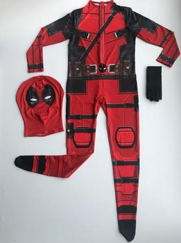 Free shipping Kid Deadpool Costume with Mask Superhero cosplay Suit Boy One Piece Full Bodysuit Halloween kid costumes for party 1