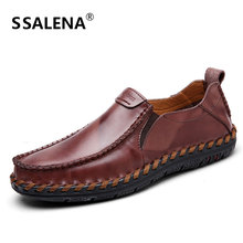 Mens Casual Leather Flats Shoes Handmade Breathable Driving Shoes Mens Slip On Wear Resistant Moccasins Shoes AA11636