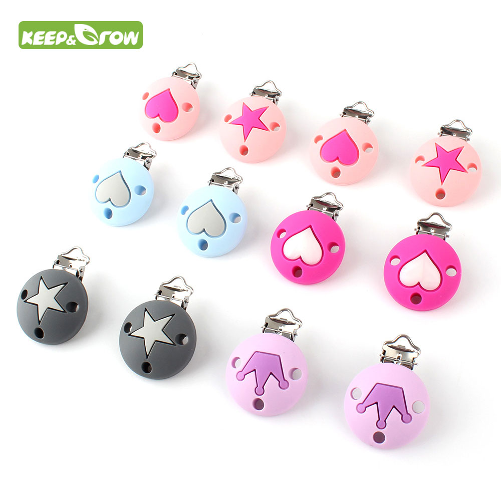 KEEP GROW 60Pcs Pacifier Chain Clip Round Star Crown Heart Pattern Silicone Seads Clips Nipple Soother