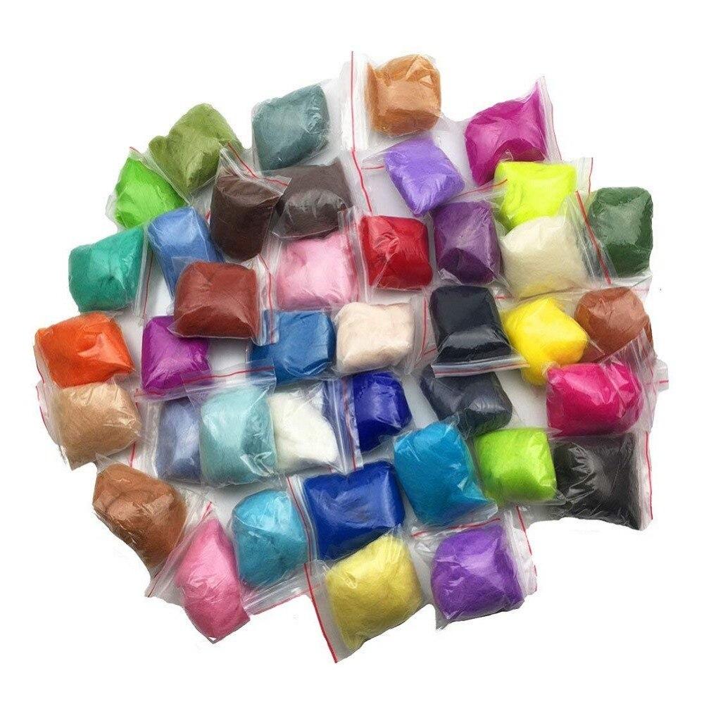 10 г игла для валяния Шерсть-ровинг меринос 70S класс экологичный супер мягкий натуральный шерстяной волокно для иглы валяния комплект 40 цветов