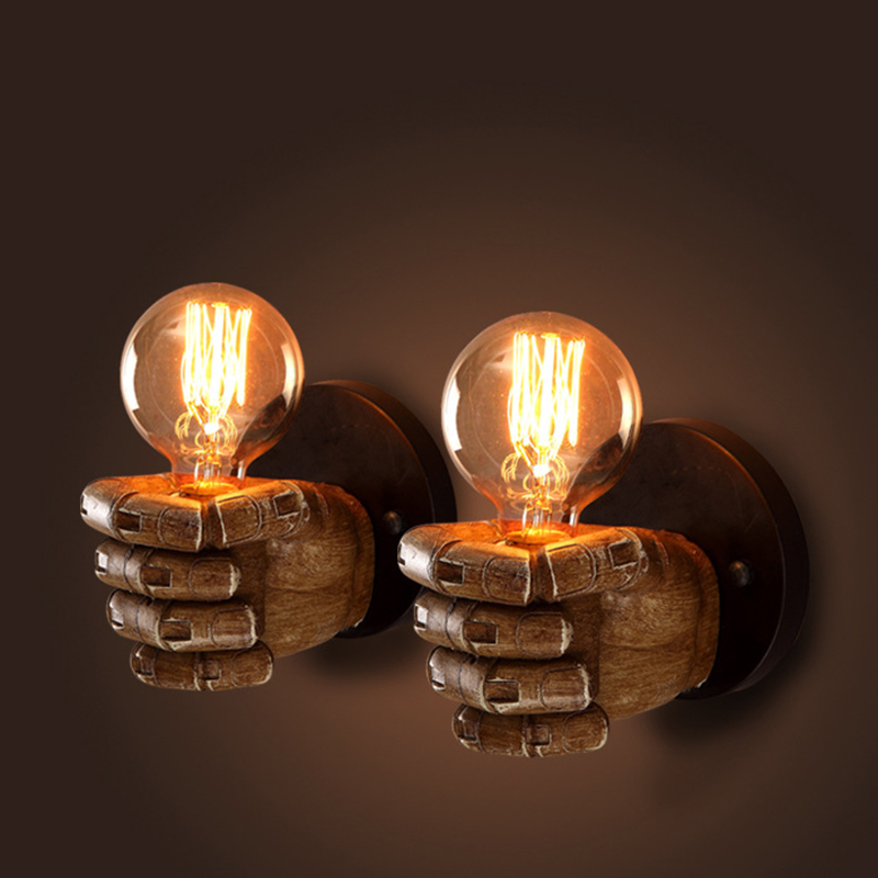 Loft Vintage fist Wall Lamp mini small warehouse Industria luxury Wall Sconce Edison for cafe club bar restaurant beside light