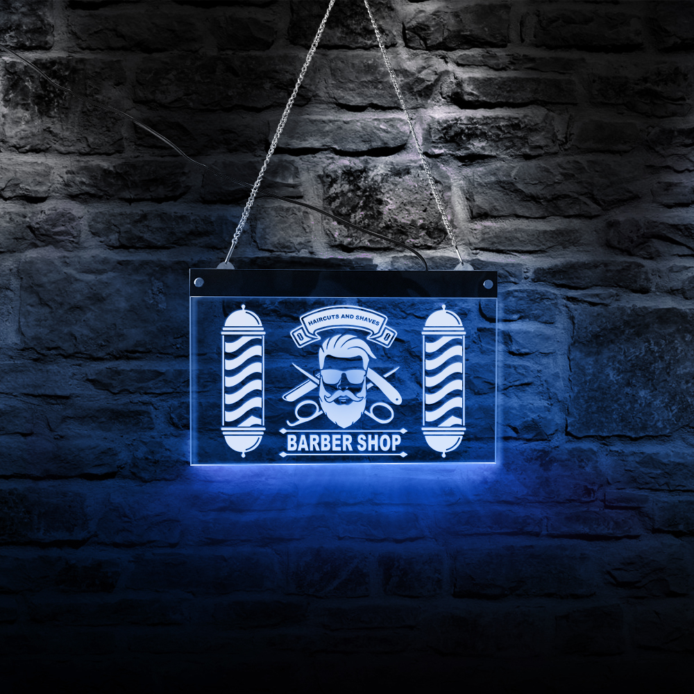 1e6a496d9 Custom Barber Shop LED Neon Sign Barber Pole Styling Logo Haircuts And  Shaves Acrylic Hanging Decorative Board Hairdresser Gift