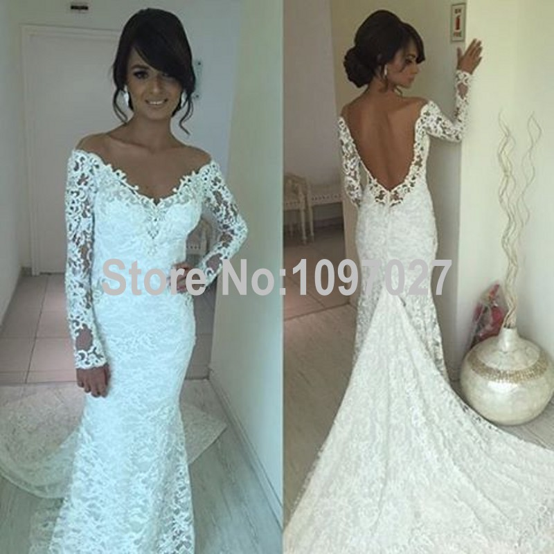 Sexy v neck white french wedding lace dress off shoulder for Long sleeve white lace wedding dress