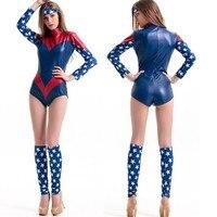 BOOCRE Anime Supergirl Costumes Captain America Warrior Jumpsuits Zentai Women Halloween Clothing