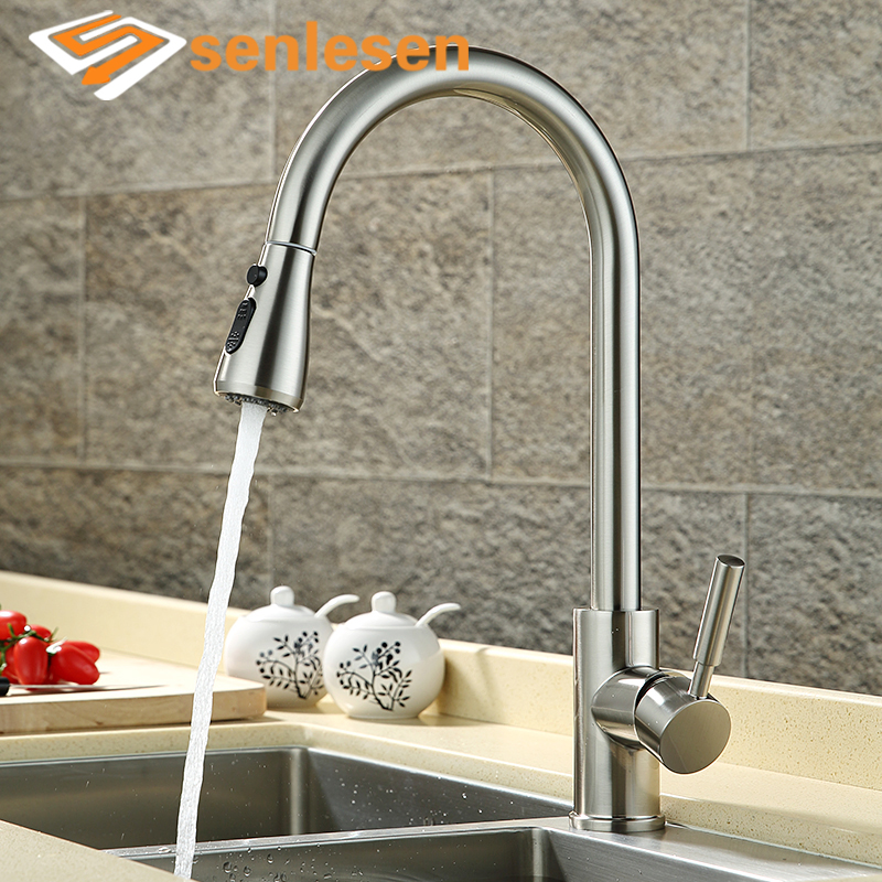 Senlesen Kitchen Faucet Pull out Sprayer Vessel Sink Faucets 360 Swivel Single Handle Hot and Cold Water Mixer Taps ulgksd kitchen faucets pull out ledsprayer vessel sink faucets 360 swivel cold and hot water kitchen mixer tap