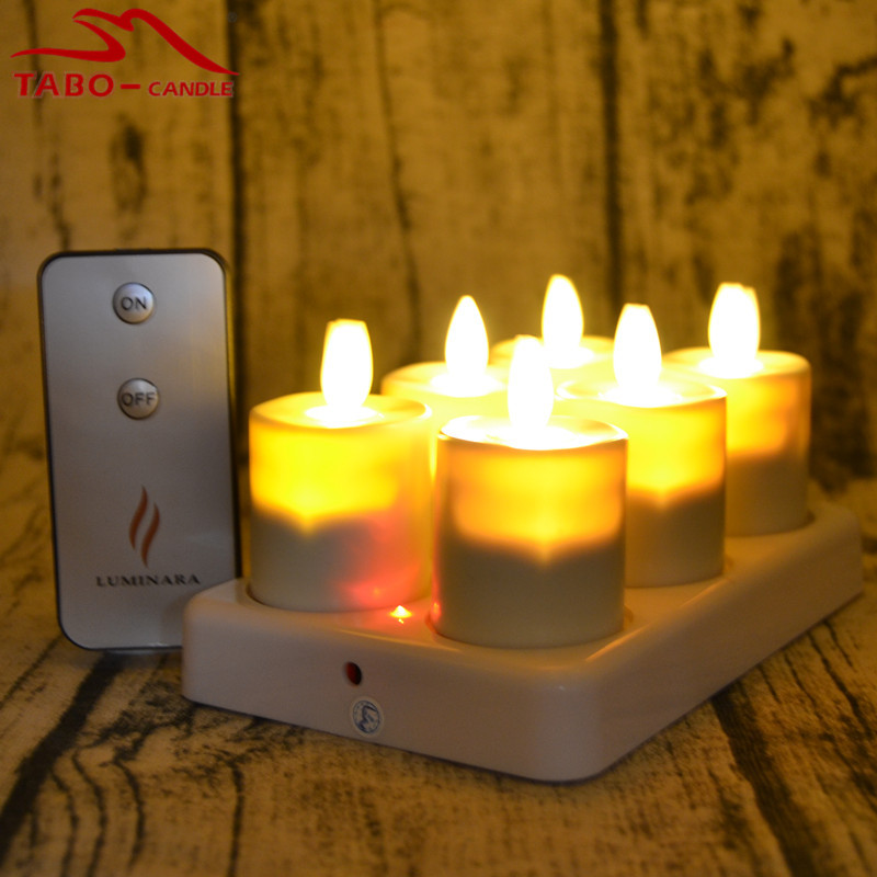 Luminara LED Rechargeable Moving Wick//Flame Flickering Tealight Timer Candle set