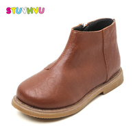 Classic Children Thick Velvet Kids Boots Zipper PU Leather British Style Boys Girls Martin Boots Warm Winter Casual Shoes 26-36