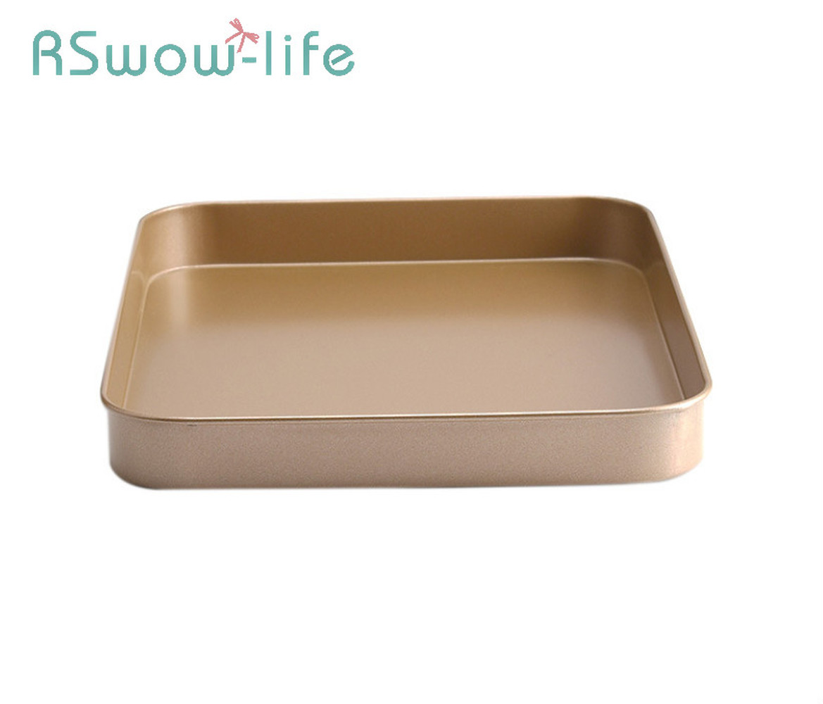 Baking Pans Rectangular Biscuit Baking Tray Gold 10 Inch Carbon Steel Non stick Baking Cake Baking Tray For Baking Supplies