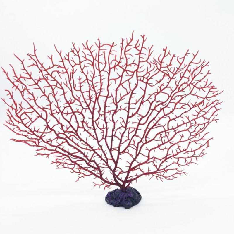 Red Simulation Soft Resin Coral Fish Tank Aquarium Decoration Anemone Coral Tree Artificial Aquatic underwater world DIY decor image