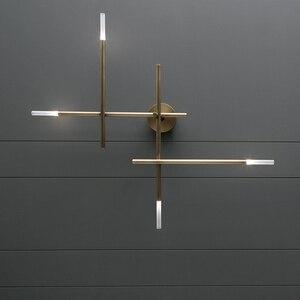 Image 3 - Postmodern LED living room Wall lights Nordic luxury copper lighting fixtures bedroom sconces home deco Corridor aisle wall lamp