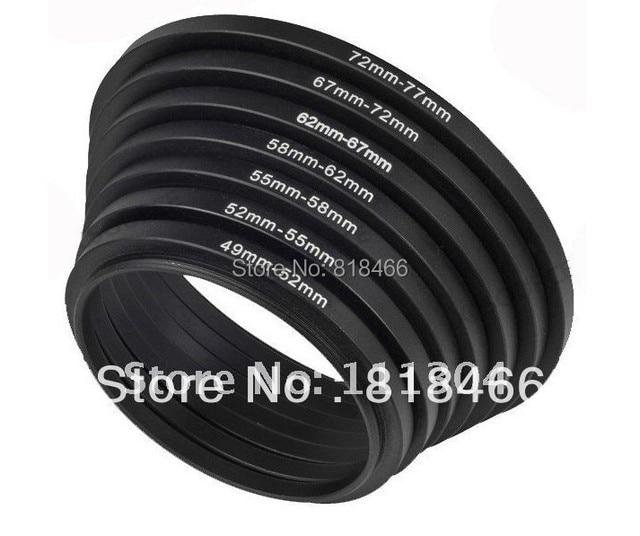 Foleto 7pcs ring 49 52 55 58 62 67 72 77mm 7pcs Metal Step Up Rings Lens Adapter Filter Set 49mm 52mm 58mm 62mm 67mm 72mm 77mm