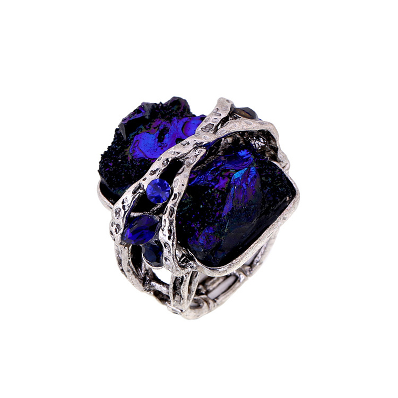 Yhpup Brand Vintage Antique Bronze Exaggerate Charm Resin Gem Colorful Crystal Irregular Elasticity Luxury Ring For Women