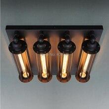 RH LOFT Retro hierro 4 cabeza raro grande Vintage americano Industrial Edison lámpara de techo luz cafetería Bar comedor habitación Club