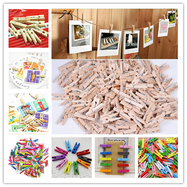 50-100Pcs/pack Hot Sale Mini Natural Wooden Clothes Photo Paper Peg Pin Clothespin Craft Clips School Office Stationery